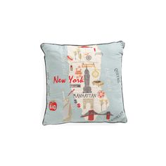 20x20 New York Map Pillow ($25) ❤ liked on Polyvore featuring home, home decor, throw pillows, map throw pillow, map home decor, new york home decor and embroidered throw pillows