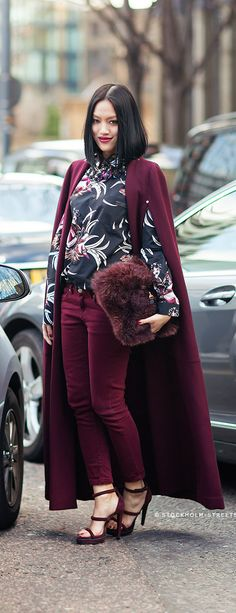 Street Fashion 2014. Oh yes ma'am! She's doin' her thang! | See more about street fashion, fashion and oxblood.