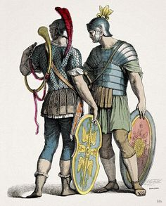 Roman Legionaries.  1870.Military Costumes of Ancient Rome by Knilling. hand colored wood engraving.http://hadrian6.tumblr.com