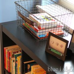 These library books look great in a boys room with the help of our Marche Basket! | blue i style