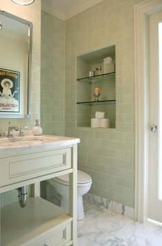 Guilford Green is a gorgeous tile backsplash for kitchens, bathrooms, and dining rooms. It'll transport you to the spa right in your own home!