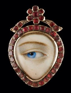 Heart-shaped gold LOVER'S EYE ring with Hessonite garnet surround; sepia and embroidered hair-work image on reverse, circa Eye Jewelry, Jewelry Art, Antique Jewelry, Vintage Jewelry, Jewelry Design, Jewellery, La Danse Macabre, Birmingham Museum Of Art, Lovers Eyes