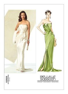 Bias dress is floor length, lined and has contrast panel, contrast knot, asymmetrical seams, side slit, train, zipper and foundation with boning.