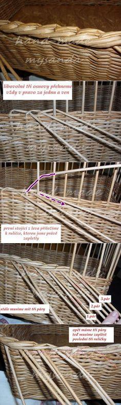 завершение плетения в три пары газетных трубочек