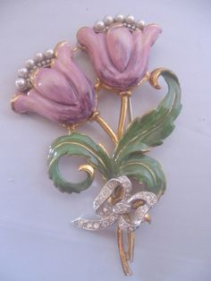 Vintage Large Enamel Lavender Tulip and Bow Pin-Brooch