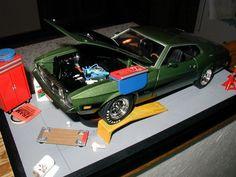 Custom Made 1:18 scale 73 mach1 'oil change and tune up' diorama.