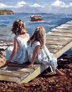 """""""Childhood is measured out by sounds and smells and sights, before the dark hour of reason grows."""" Artist: Sheree Valentine Daines ༺ß༻ Art Gallery, Art Painting, Painting People, Art Drawings, Illustration Art, Art, Seaside Art, Art Pictures, Portrait Art"""