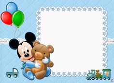 Ideas for baby shower souvenirs boy frames Baby Mickey Mouse, Festa Mickey Baby, Mickey Mouse 1st Birthday, 1st Boy Birthday, Disney Babys, Baby Disney, Boy Baby Shower Themes, Baby Boy Shower, Invitation Mickey Mouse