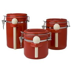 Sensations II 3-pc. Canister Set - Red