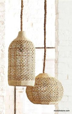 This beautiful Abaca light piece, adds touch of rustic elegance to any decor. Abaca is a durable and flexible fiber that has a lovely natural color and can be used to create finely detailed woven patterns, such as those in our shapely pendant lamps. Home Lighting, Modern Lighting, Pendant Lighting, Pendant Lamps, Deco Luminaire, Home Decor Online, Home And Deco, Light Fittings, Light Fixtures