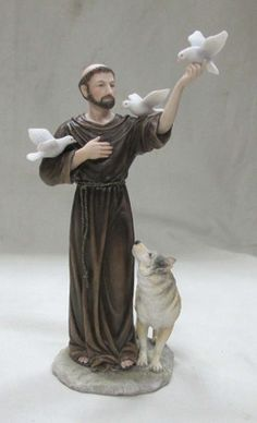 St Francis With Wolf Statue Hand Painted Veronese Collection Italian Statues, Greek Statues, Bird Statues, Buddha Statues, Stone Statues, Religious Photos, Religious Art, Religious Gifts, Catholic Gifts