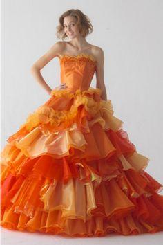 371f24f554020 オレンジ ストラップレス ティアード フリル タフタ 編み上げ ボールガウン スウィープ カラードレス Cly0038