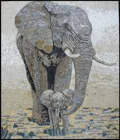 elephant mosaic | AN773 Mother and baby elephants mosaic