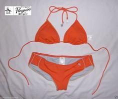 Original Penguin Swimwear Never Old Retro Trunk (Genuis I Am Collection) 2-pc Bikini in Mellon, Size M NEW    *RARE - VERY HARD TO FIND*
