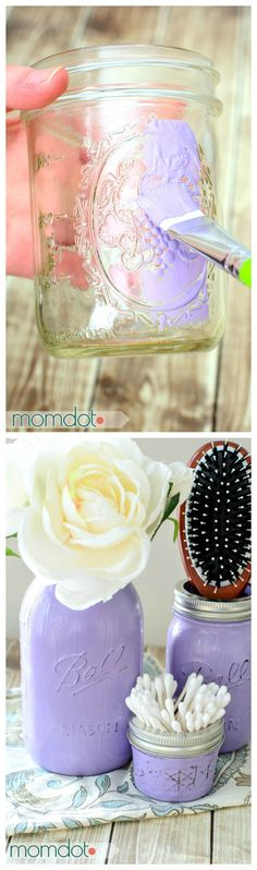 Painted Mason Jars DIY, Perfect for Mason Jar Storage, Bathroom Decor, or Kitchen upkeep. Match paint to room for a quick and beautiful Custom craft, Also great for gifting Mason Jar Projects, Mason Jar Crafts, Mason Jar Diy, Decorative Storage, Craft Storage, Kitchen Storage, Storage Room, Diy Craft Projects, Diy And Crafts