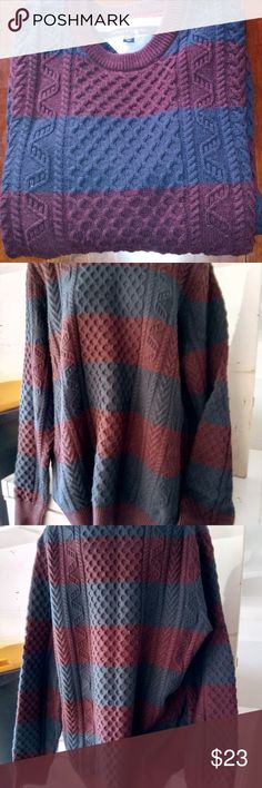 Tommy Hilfiger Cable Knit XL Sweater XL Tommy Hilfiger Cable Knit Sweater Maroon and Navy Tommy Hilfiger Sweaters Crewneck