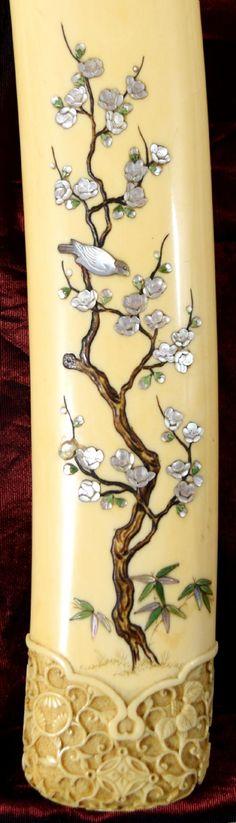 a finely carved japanese ivory and shibayama tanto - photo angle #5