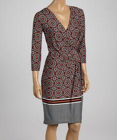 Look at this #zulilyfind! Black & Coral Geometric Surplice Dress - Women by AA Studio #zulilyfinds