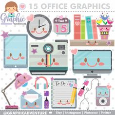 Office Stuff Clipart, Office Stuff Graphics, COMMERCIAL USE, Kawaii Clipart, Office Supplies, Planner Accessories, Office Things, Meeting