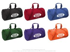 #TRIO Brand Gear™ Denver Duffel Bag™  600 denier polyester, round end style Zippered end pocket, clip on shoulder strap In stock in 26 different colors VibraColor® Full Color Process available