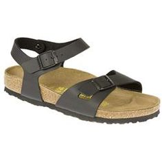 Birkenstock Female Rio Leather Upper in Black, White Back strap style with Birko Flor uppers, adjustable straps and shock-absorbing EVA sole. http://www.comparestoreprices.co.uk/ladies-shoes/birkenstock-female-rio-leather-upper-in-black-white.asp