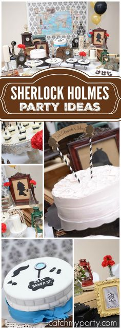 This unique, vintage Sherlock Holmes party is for a detective fan! See more party ideas at Catchmyparty.com!