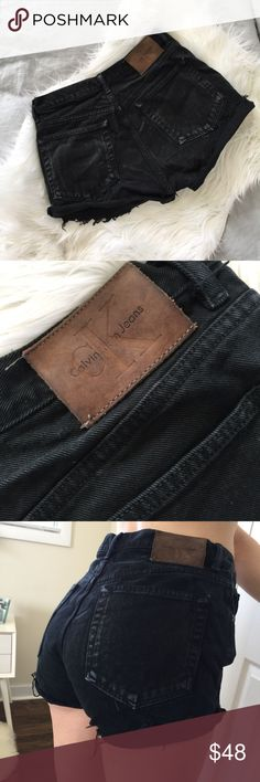 """Vtg 90s Calvin Klein High Waisted Cut Off Shorts 7 Gorgeous Vtg condition. Classic brown Calvin Klein Jeans logo.   Waist measures 29-30"""". These are frayed and can be worn as is or rolled up. Calvin Klein Jeans Shorts Jean Shorts"""