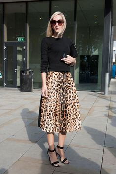 Pin for Later: The Best of Paris Fashion Week Street Style (Updated!) LFW Street Style Day 3 Jane Keltner de Valle pared down a notice-me leopard-print skirt with a black knit.