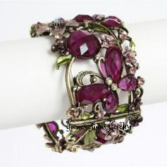 'Lavender or Brown Butterfly Crystal Cuff Bracelet' is going up for auction at  8am Sun, Dec 29 with a starting bid of $7.