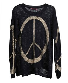 Golden Peace Sign Print Sweater - Knit Tops - Pullover - Knitwear - Clothing