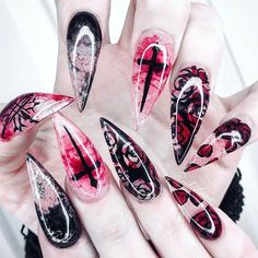 55 Scary Halloween Nail Art Design Ideas For The Coming Halloween - Page 52 of 55 - Extra nails - Bling Nails, Goth Nails, Skull Nails, Stiletto Nails, Fun Nails, Goth Nail Art, Scary Nails, Pretty Nails, Skull Nail Designs