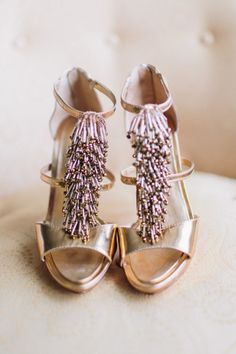White and Gold Wedding. Gold Bridesmaid Dress. Soft and Romantic. Gold Wedding Heels | Rachel May Photography