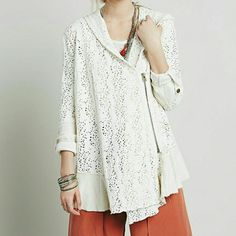 Free People Doily Swing Cardigan NWT Beautifully embroidered hooded jacket in a rich cream color.  Brand new with tag. Free People Jackets & Coats