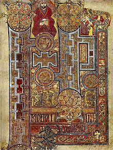 Illumination, The Book of Kells, showing text that reveals the Gospel of John, c. 800