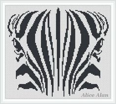 Face Zebra black-and-white monochrome Counted Cross от HallStitch