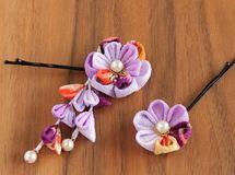 再販)紫×古典柄 ちりめんヘアピンかんざし2本セット