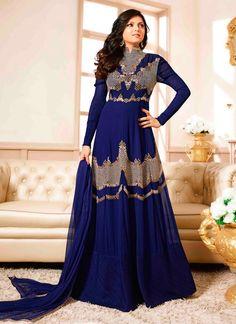 Majesty Embroidered Work Navy Blue Georgette Anarkali Salwar Kameez
