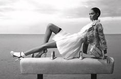 Joan Smalls looks lovely in Chanel '12 atop a gymnastic pommel horse.  Spring…