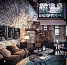 Amazing loft design with exposed brick. amazing loft design with exposed brick brick room, brick walls, retro living Loft Estilo Industrial, Industrial House, Industrial Interiors, Industrial Style, Industrial Loft Apartment, Exposed Brick Apartment, Industrial Design, Industrial Windows, Industrial Furniture