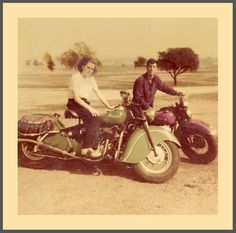 Harleys & Indians somewhere in Southern California || Vintage photo of motorcycle enthusiasts with a Harley Davidson & an Indian