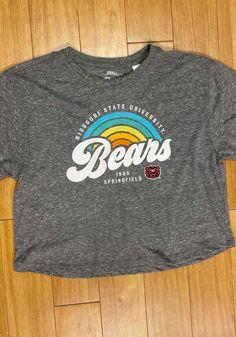 Missouri State Bears Womens Grey Sunrise Script Short Sleeve T-Shirt - 22641891 Bear T Shirt, Great Books, Short Sleeve Tee, Missouri, Script, Bears, Sunrise, Grey, Sweatshirts