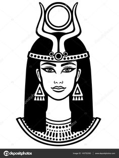 Animation portrait of the beautiful Egyptian woman. Black t… Animation portrait of the beautiful Egyptian woman. Black the white vector illustration isolated on a white background. Print, poster, t-shirt, tattoo. Egyptian Goddess Tattoo, Isis Goddess, Egyptian Women, Ancient Egyptian Art, Egyptian Drawings, Cartoon Drawings Of Animals, Egypt Art, Animation, African Art