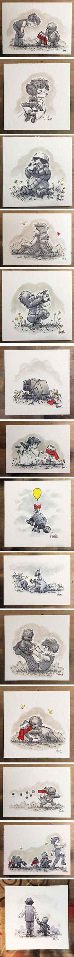 Star Wars Characters Reimagined As Winnie The Pooh And Friends (By James Hance)...