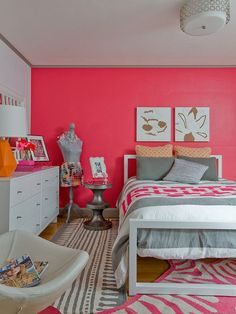 teenagerzimmer für mädchen ideen wandfarbe pink grau gestaltung-neon-pink