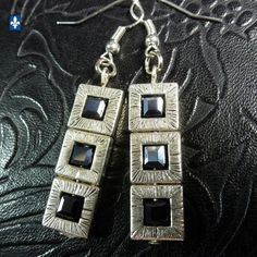 ♥ Chic Metallic Black Crystal Cubes Plated Silver Framed Earrings