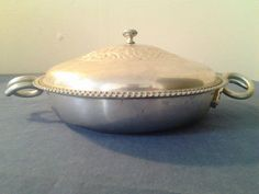 Vintage Wrought Hammered Aluminum Dish With Cover by GrandesTreasures on Etsy