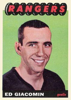 Ed Giacomin Topps RC New York Rangers rookie card for sale now. Rangers Hockey, Hockey Goalie, Hockey Cards, Baseball Cards, National Hockey League, New York Rangers, Vintage Cards, Trading Cards, A Team