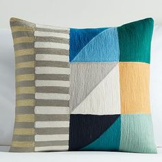 Divided Squares Crewel Nursery Pillow Cover - Teal #westelm