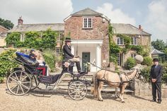 "Horse and Carriage Exeter - Horse drawn carriages for you to arrive in style. Carriages pulled by a pair of ponies for the extra ""wow"" factor in our stunning custom built Victoria carriage. However, for winter weddings we now have a completely closed in carriage, pulled by a single horse. We always strive to provide you with the horse drawn service you are looking for so please do not hesitate to contact us with your thoughts or ideas to make your day truly special. Exeter wedding suppliers"