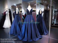 Navy Blue Satin Ball Gown Long Prom Dresses